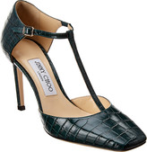 Jimmy Choo Lexica 85 T-Strap Croc-Embossed Leather Pump