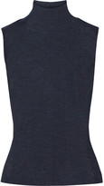 Alexander Wang Ribbed Wool Turtleneck Top - Navy