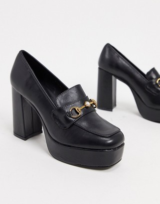 Raid Estera chunky heeled loafer shoes in black