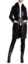 Zac Posen Beverly Long Length Genuine Lamb Shearling Collar Leather Coat