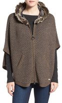 Barbour Women's Islay Faux Fur Trim Hooded Knit Cape