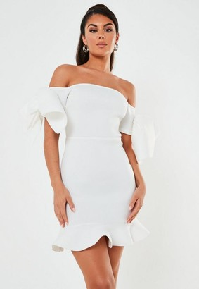Missguided White Scuba Bardot Bow Mini Dress