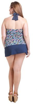 Anne Cole WOMENS Plus Floral Print Halter Bandeau Tankini Top