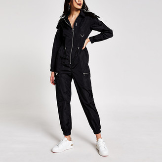 River Island Black nylon drawstring waist boiler jumpsuit