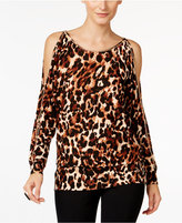 Thalia Sodi Animal-Print Cold-Shoulder Sweater, Only at Macy's
