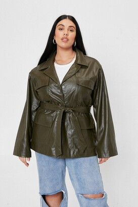 Nasty Gal Womens Plus Size Belted Faux Leather Jacket - Olive
