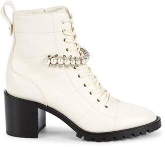 Jimmy Choo Cruz Embellished Leather Combat Boots