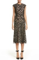 Monique Lhuillier Women's Ribbon Guipure Lace Midi Dress