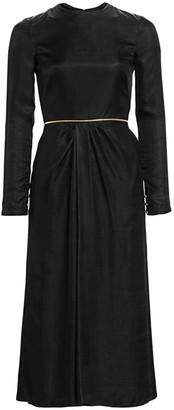 Brandon Maxwell Satin Twill Gathered Midi Dress