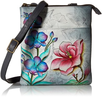 Anuschka Women's Handpainted Rfid Blocking Triple Compartment Floral Fantasy Cross Body Handbag One Size