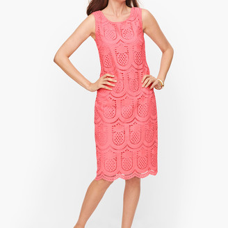Talbots Eyelet Pineapple Scoop Neck Dress
