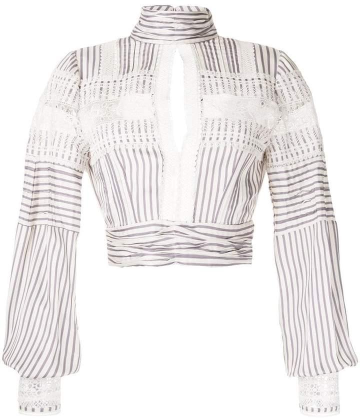 Self-Portrait key-hole striped blouse