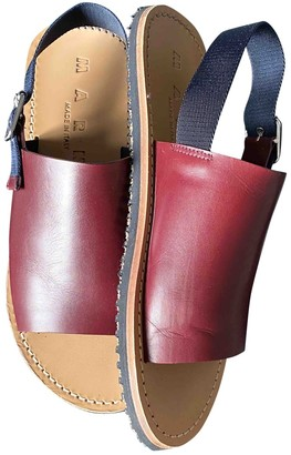 Marni Burgundy Leather Sandals