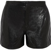 Theyskens' Theory High-rise glossed-leather shorts