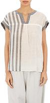 Pas De Calais Women's Striped V-Neck Blouse-WHITE
