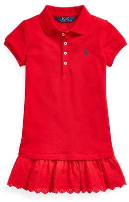 Ralph Lauren Eyelet Stretch Mesh Polo Dress