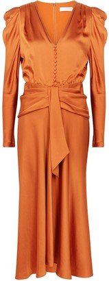 Jonathan Simkhai Annalise burnt orange satin midi dress