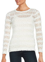 Lord & Taylor Long Sleeve Ruffle Lace Mesh Tee