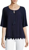 Neiman Marcus Half-Sleeve Popover Top