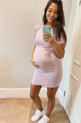 boohoo Maternity Basic Rib Bodycon Dress