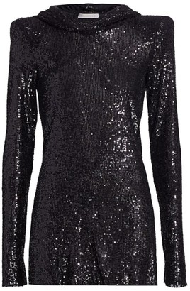 Naeem Khan Hooded Sequin Tunic Top