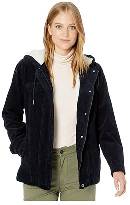 Levi's Corduroy Sherpa Lined Trucker with Hood (Navy) Women's Clothing