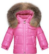 Moncler K2 Hooded Fur-Trim Puffer Coat, Pink Size 12M-3