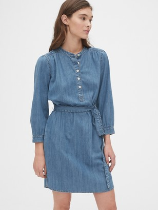 Gap Shirred Popover Denim Shirtdress