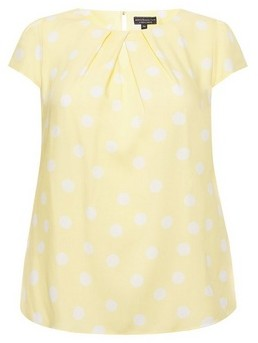 Dorothy Perkins Womens Billie & Blossom Curve Yellow And White Spot Print Shell Top, Yellow