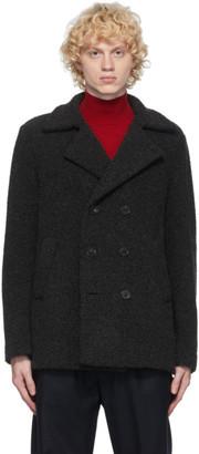 Harris Wharf London Grey Boucle Wool Pea Coat