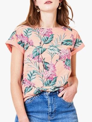 Oasis Floral Print Boat Neck T-Shirt