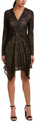 BCBGMAXAZRIA Azria Women's Alex Knit Stretch Lace V-Neck Dress