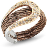 Alor 18K Gold Plated Stainless Steel Diamond Bronze Ring - Size 7 - 0.26 ctw
