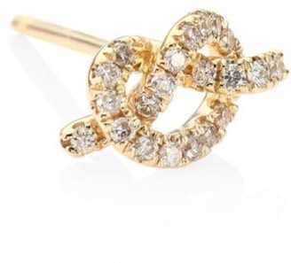 Sydney Evan Love Knot Diamond & 14K Yellow Gold Single Stud Earring