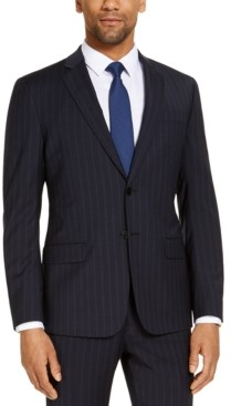 Ax Armani Exchange Armani Exchange Men's Modern-Fit Navy Blue Pinstripe Suit Jacket, Created for Macy's