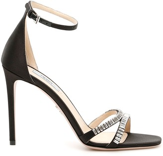 Prada Crystal Satin Sandals