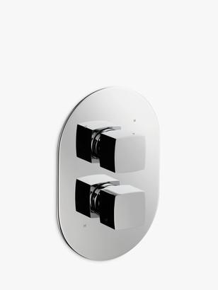 John Lewis & Partners Eden Concealed Thermostatic Bathroom Shower Valve Taps (2 Exit), Chrome