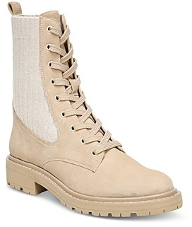 Sam Edelman Women's Lydell Almond Toe Knit Fabric & Suede Booties