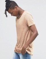Asos Longline T-Shirt In Linen Look With Curved Hem