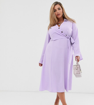 Asos DESIGN Curve button through wrap midi shirt dress-Purple