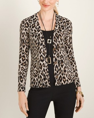 Chico's Button-Front Animal-Print Cardigan