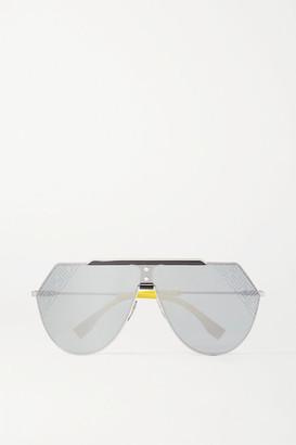 Fendi Aviator-style Silver-tone And Acetate Mirrored Sunglasses