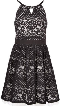 Sequin Hearts Big Girls Plus Lace Cutout Halter Dress