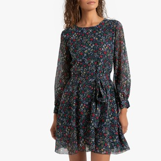 Pepe Jeans Ruffled Mini Dress in Floral Print with Tie-Waist