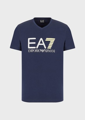 Ea7 T-Shirt With Metallic And Fluorescent Printed Logo