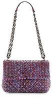 Bottega Veneta Medium Tweed-Print Intrecciato Watersnake Shoulder Bag, Pink
