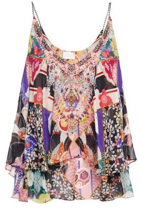 Camilla Postcards From Mars Crystal-embellished Printed Silk-chiffon Top