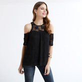 Apricot Black Lace Cold Shoulder Top