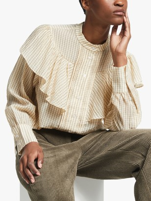 Second Female Jasmin Check Print Frill Shirt, Light Beige