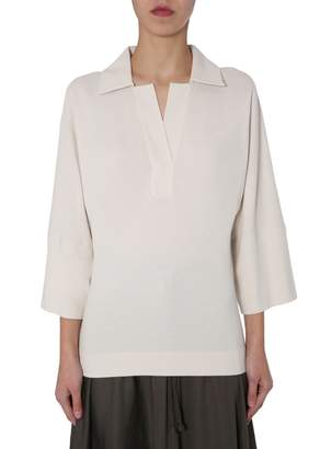 Lemaire V-Neck Cropped Sleeve Top